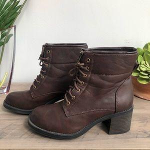 Seven7 Chocolate Women's Chunky Heel Booties